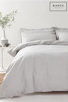 Bianca Silver 200 Thread Count Organic Cotton Duvet Cover and Pillowcase Set