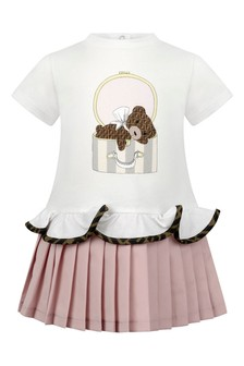 Baby Girls White/Pink Cotton Bear Dress