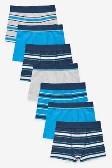 Blue/Grey 7 Pack Stripe Trunks (2-16yrs)
