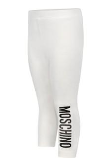 Baby Girls Ivory Cotton Logo Leggings