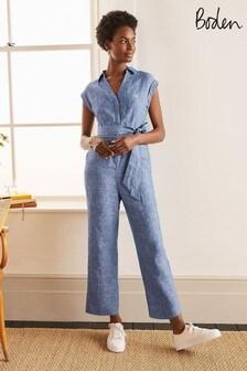 Boden Blue Catriona Linen Jumpsuit