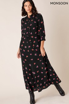 Monsoon Black Rose Print Midi Dress