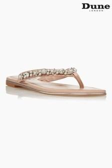 Dune London Neutral Noele Embellished Flat Sandals
