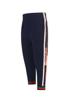 Boys Navy Joggers With Jacquard Trim