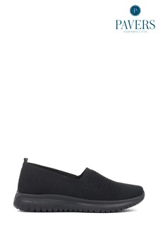 Pavers Black Ladies Lightweight Slip-On Trainers