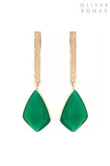 Oliver Bonas Green Sidra Long Stone & Gold Plated Brass Tab Drop Earrings