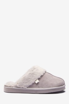 Pale Grey Suede Mule Slippers