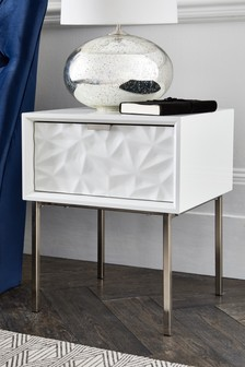 Mode Textured White 1 Drawer Bedside Table