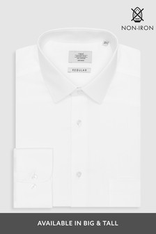 White Textured Regular Fit Single Cuff Non-Iron Shirt