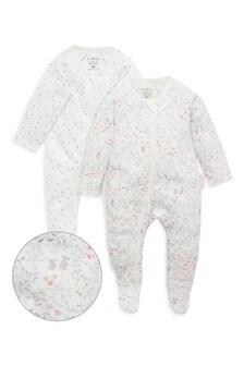 Purebaby Meadow Digital Zip Sleepsuits 2 Pack