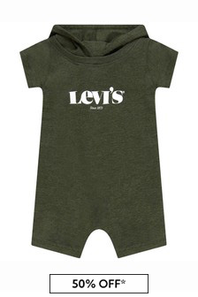 Levis Kidswear Baby Boys Green Cotton Shortie Romper