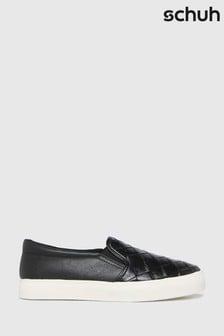 Schuh Black Malin Weave Slip On Trainers