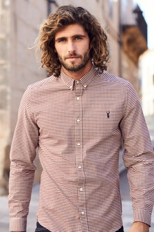 Rust   Long Sleeve Gingham Check Shirt