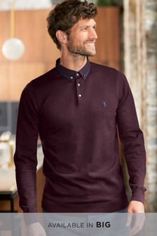 Burgundy   Woven Collar Knitted Polo