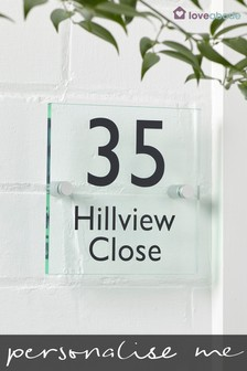 Personalised Rhode Glass Effect House Sign by Loveabode