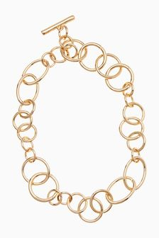 Gold Tone Chunky Chain T-Bar Necklace