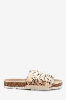 Animal Print Cork Faux Fur Sliders