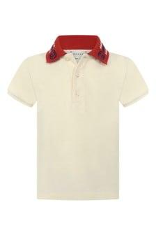 Baby Boys Ivory Piquet Embroidered Collar Polo Top