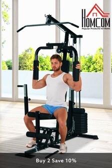 Black Multi Gym Workstation Home Workout Station by HOMCOM