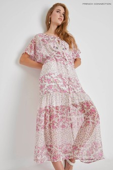 French Connection White Ezeke River Daisy Crinkle Dress