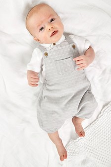 Grey Smart Dungarees And Bodysuit Set (0mths-3yrs)