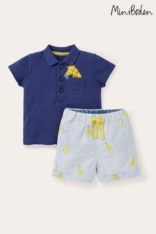 Boden Blue Piqué Poloshirt And Shorts Set