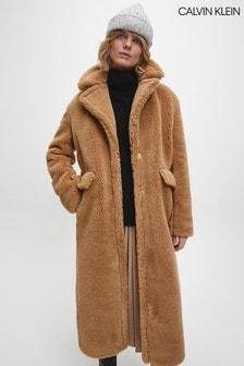 Calvin Klein Brown Teddy Coat