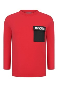 Boys Red Cotton Long Sleeve T-Shirt