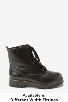 Black Extra Wide Fit Forever Comfort® Leather Lace-Up Boots
