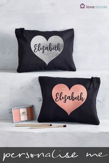 Personalised Large Heart Make-Up Bag