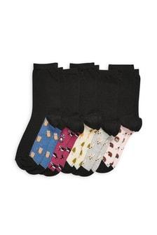 Black Woodland Animal Footbed Ankle Socks Five Pack
