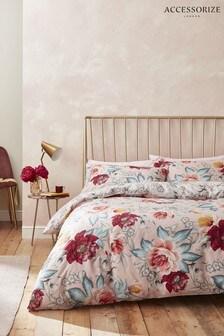 Accessorize Isla Floral Cotton Duvet Cover and Pillowcase Set
