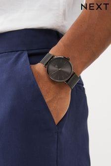 Gunmetal Tone Mesh Strap Watch