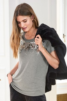 Grey  Sequin Neck Top