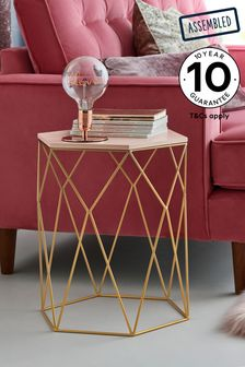 Blush/Gold Hexagon Side Table / Bedside