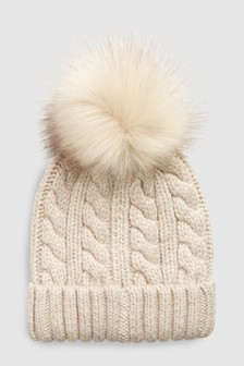 Oatmeal  Cable Knit Pom Hat