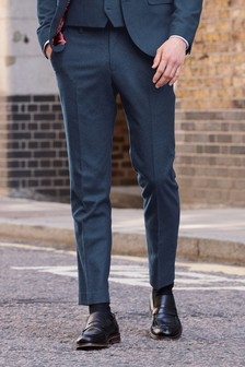 Bright Blue Trousers Flannel Slim Fit Suit