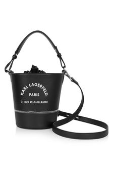 Girls Black Faux Leather Bucket Shoulder Bag
