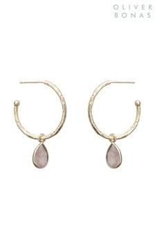 Oliver Bonas Maya Rose Quartz Gold Plated Brass Hoop Earrings