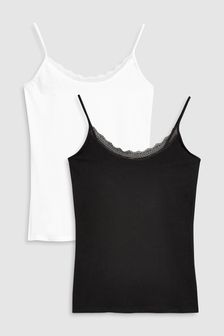 Black/White Cotton Lace Trim Vest Two Pack