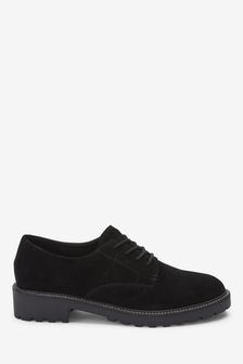 Black Faux Suede Forever Comfort® Chunky Sole Lace-Ups