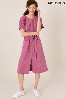 Monsoon Pink Crosshatch Pure Cotton Midi Dress