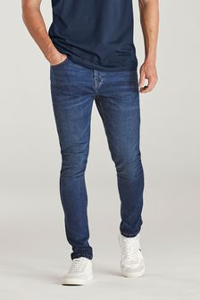 Mid Blue Super Skinny Fit Jeans With Stretch