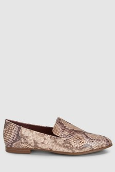Natural Snake Effect  Almond Toe Loafers