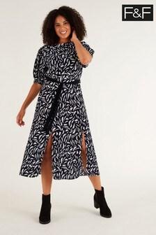 F&F Black Brush Stroke Belted Dress