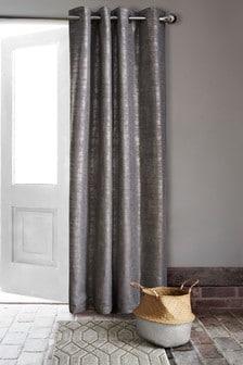 Metallic Geo Eyelet Door Curtain