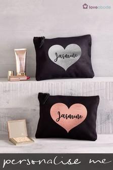 Personalised Small Heart Make-Up Bag