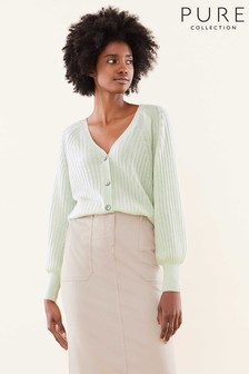Pure Collection Green Gassato Balloon Sleeve Ribbed Cardigan