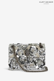 Kurt Geiger London Silver Sequins Mini Kensington Bag