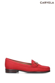Carvela Red Click Suede Loafers